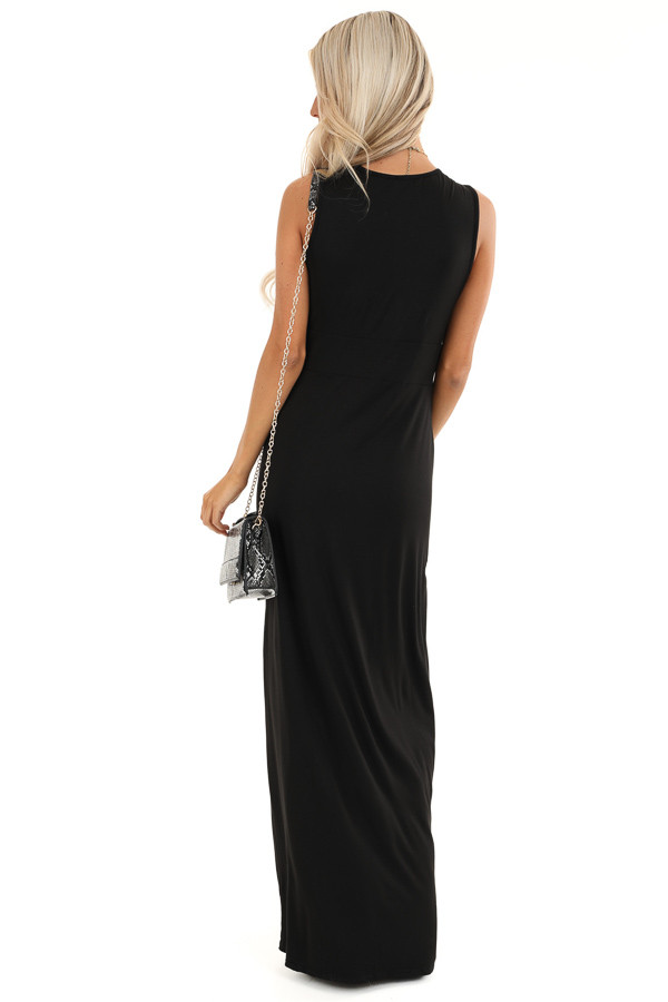 Raven Black Twisted Waist Sleeveless Maxi Dress back full body