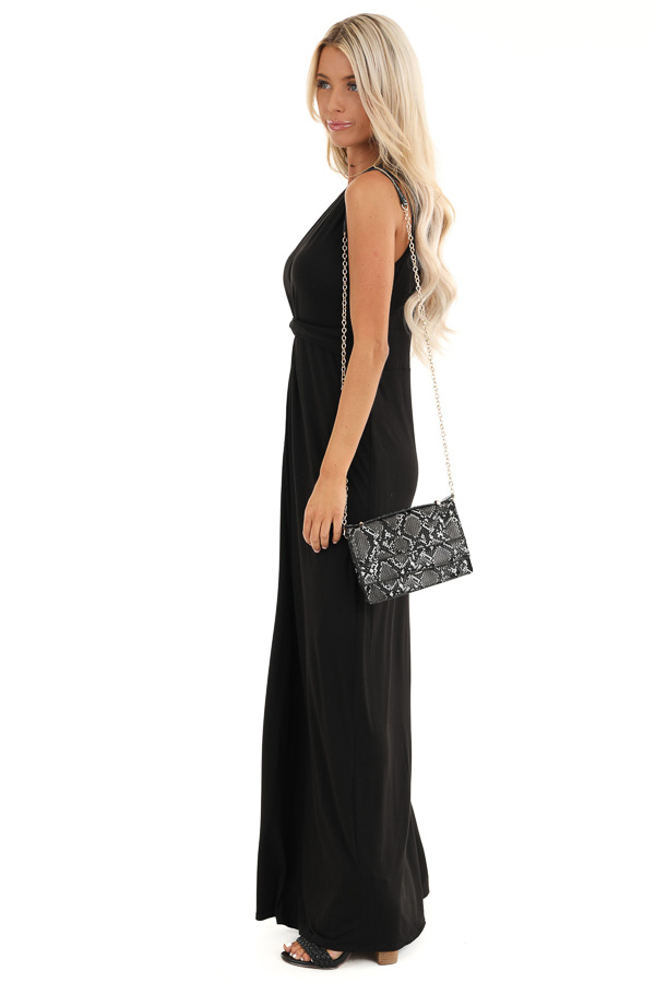 Raven Black Twisted Waist Sleeveless Maxi Dress side full body