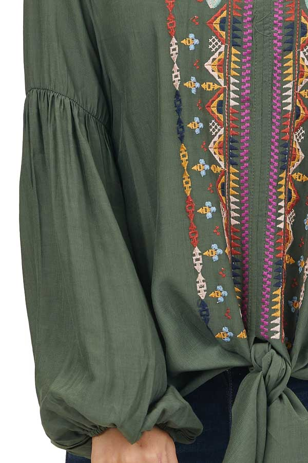 Dark Green Embroidered Satin Top with Balloon Sleeves