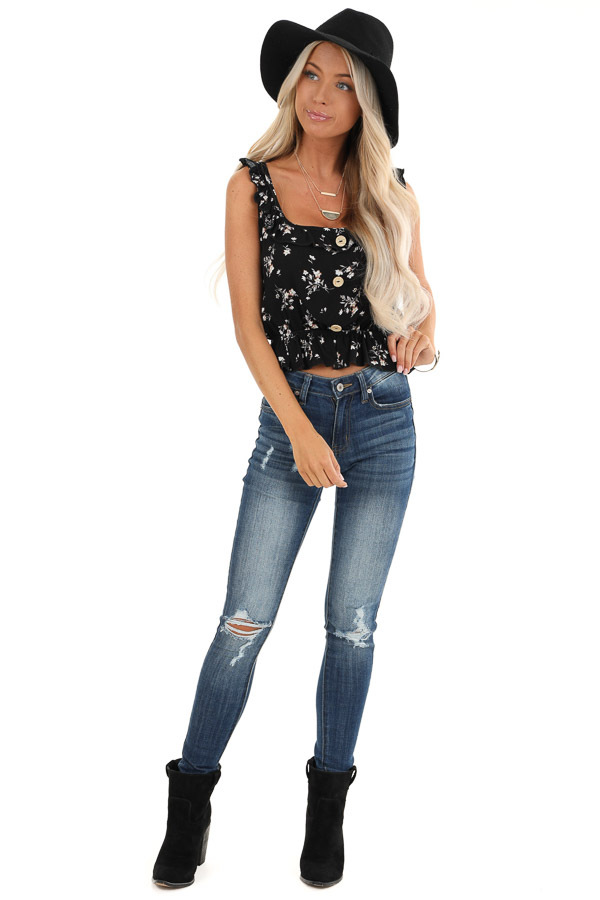 Black Floral Print Tank Top with Ruffle Details front full body
