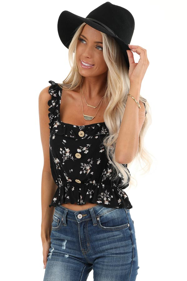 Black Floral Print Tank Top with Ruffle Details front close up