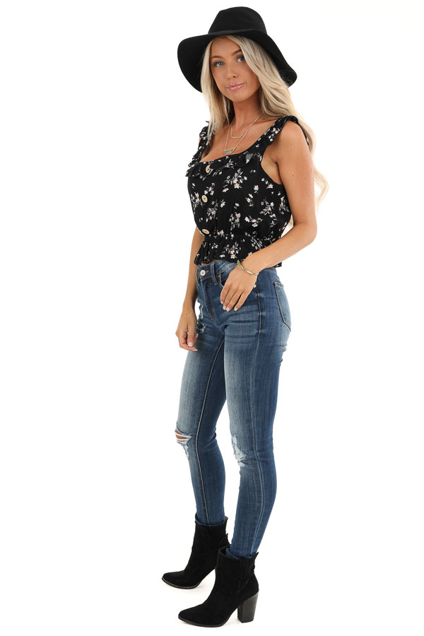 Black Floral Print Tank Top with Ruffle Details side full body