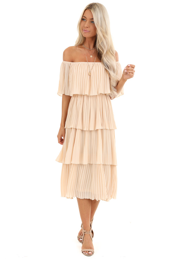 Light Peach Off Shoulder Pleated Tiered Midi Dress front full body