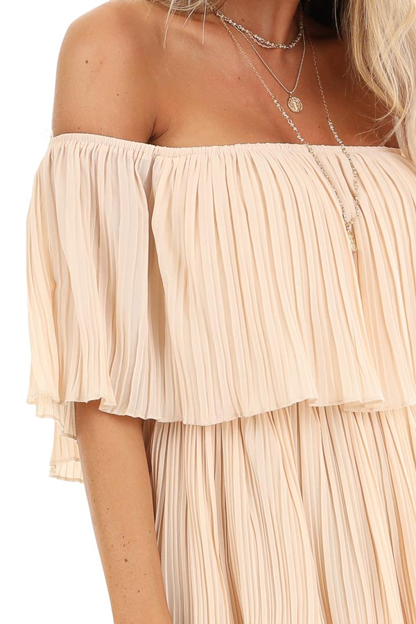 Light Peach Off Shoulder Pleated Tiered Midi Dress detail