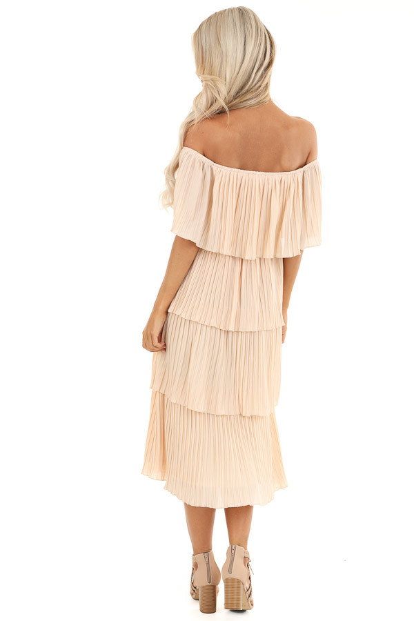 Light Peach Off Shoulder Pleated Tiered Midi Dress back full body