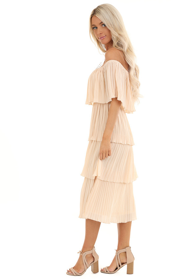 Light Peach Off Shoulder Pleated Tiered Midi Dress side full body