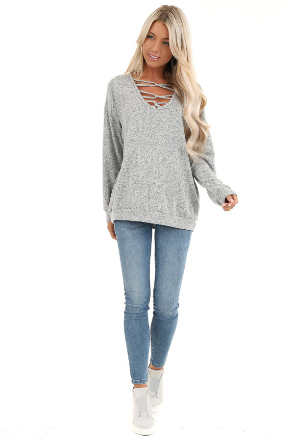 Grey Two Tone Long Sleeve Top with Cage Neckline front full body