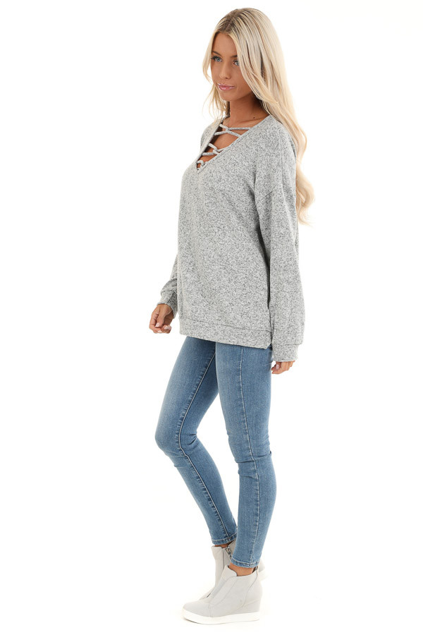 Grey Two Tone Long Sleeve Top with Cage Neckline side full body