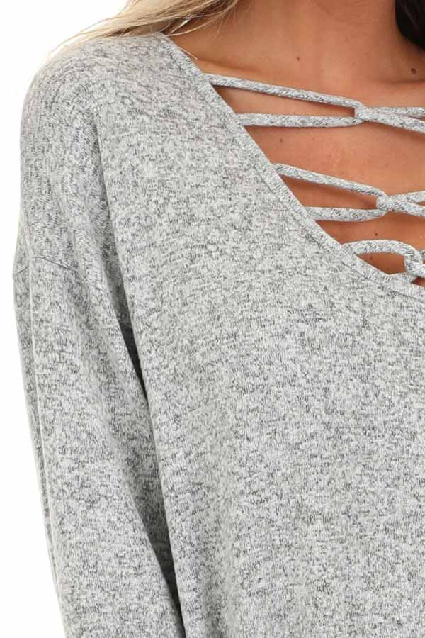 Grey Two Tone Long Sleeve Top with Cage Neckline detail
