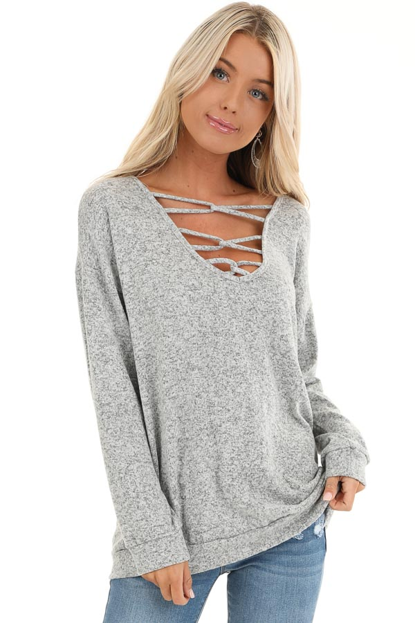 Grey Two Tone Long Sleeve Top with Cage Neckline front close up