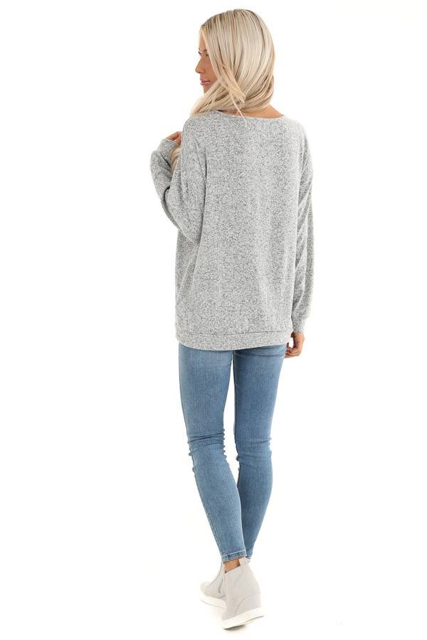 Grey Two Tone Long Sleeve Top with Cage Neckline back full body