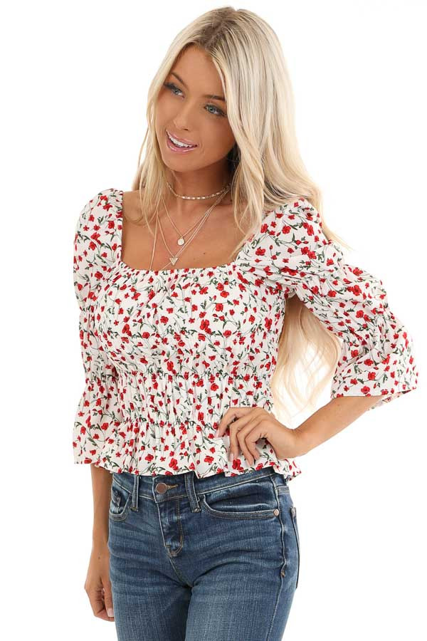 Cherry and Cream Floral Printed Top with Smocked Detail front close up