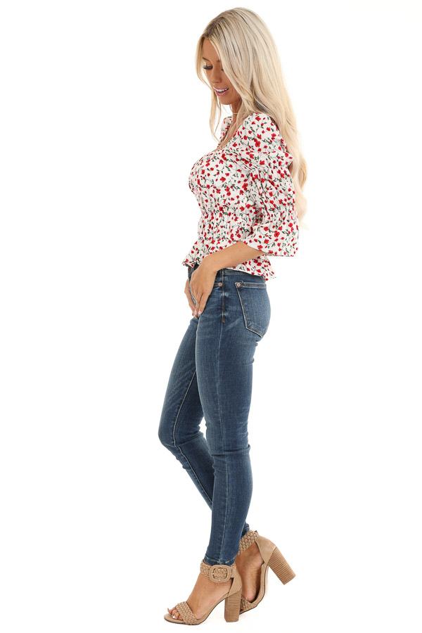 Cherry and Cream Floral Printed Top with Smocked Detail side full body