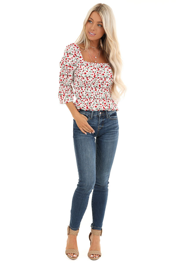 Cherry and Cream Floral Printed Top with Smocked Detail front full body