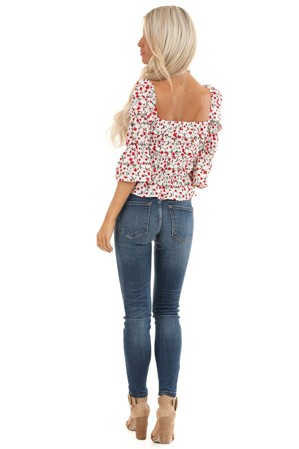 Cherry and Cream Floral Printed Top with Smocked Detail back full body