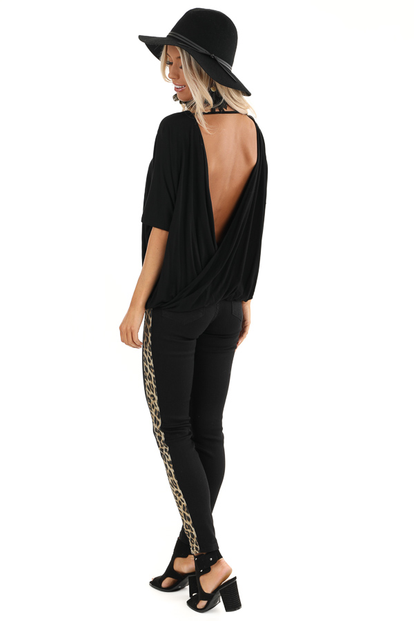 Black Surplice Short Sleeve Top with Deep Open Back side full body