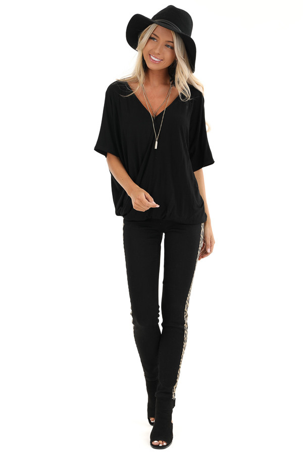 Black Surplice Short Sleeve Top with Deep Open Back front full body