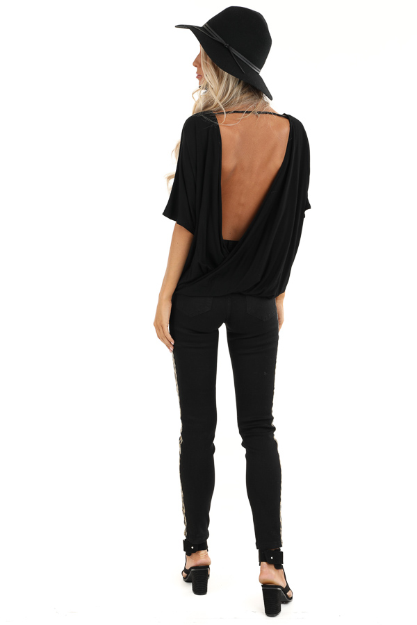 Black Surplice Short Sleeve Top with Deep Open Back back full body