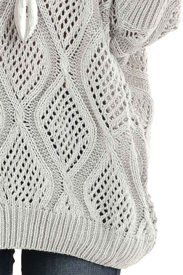 Light Grey Oversized Crochet Knit Sweater with 3/4 Sleeves detail