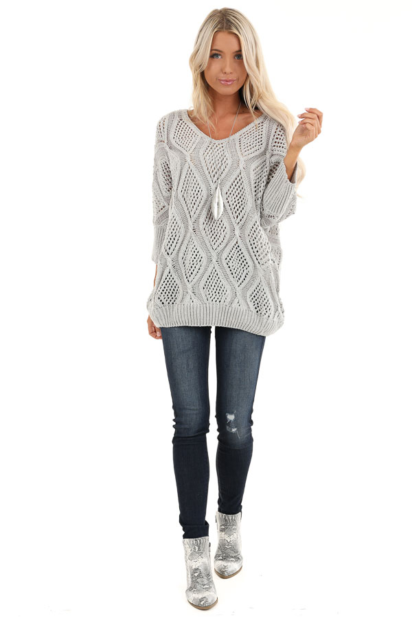 Light Grey Oversized Crochet Knit Sweater with 3/4 Sleeves front full body