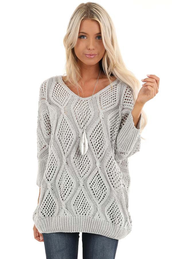 Light Grey Oversized Crochet Knit Sweater with 3/4 Sleeves front close up