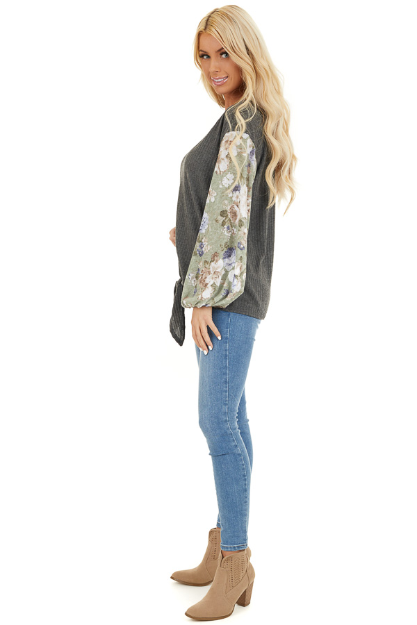 Charcoal with Sage Green Floral Print Bubble Sleeves side full body