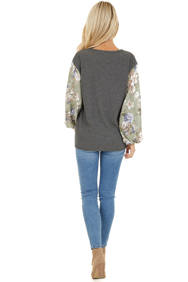 Charcoal with Sage Green Floral Print Bubble Sleeves back full body