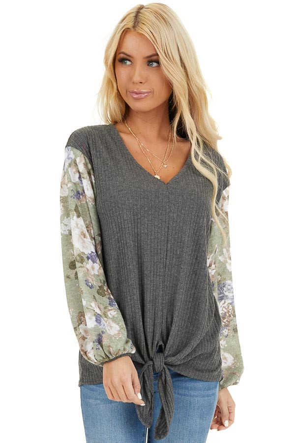 Charcoal with Sage Green Floral Print Bubble Sleeves front close up