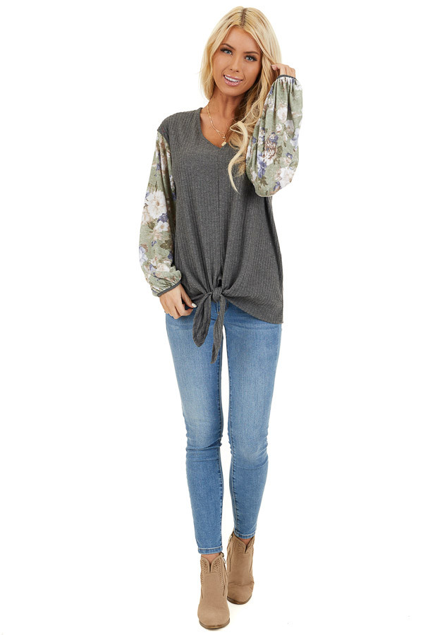Charcoal with Sage Green Floral Print Bubble Sleeves front full body