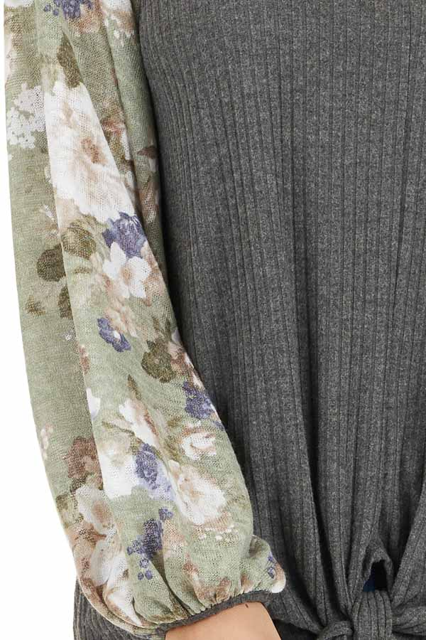 Charcoal with Sage Green Floral Print Bubble Sleeves detail