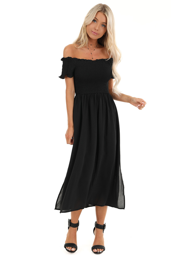 Black Off the Shoulder Midi Dress with Smocked Bodice Detail front full body