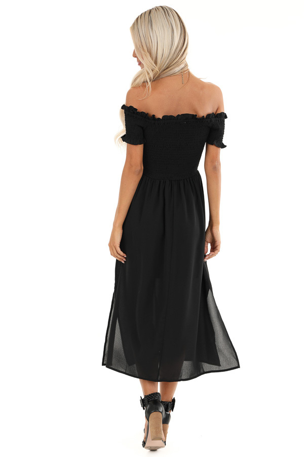 Black Off the Shoulder Midi Dress with Smocked Bodice Detail back full body