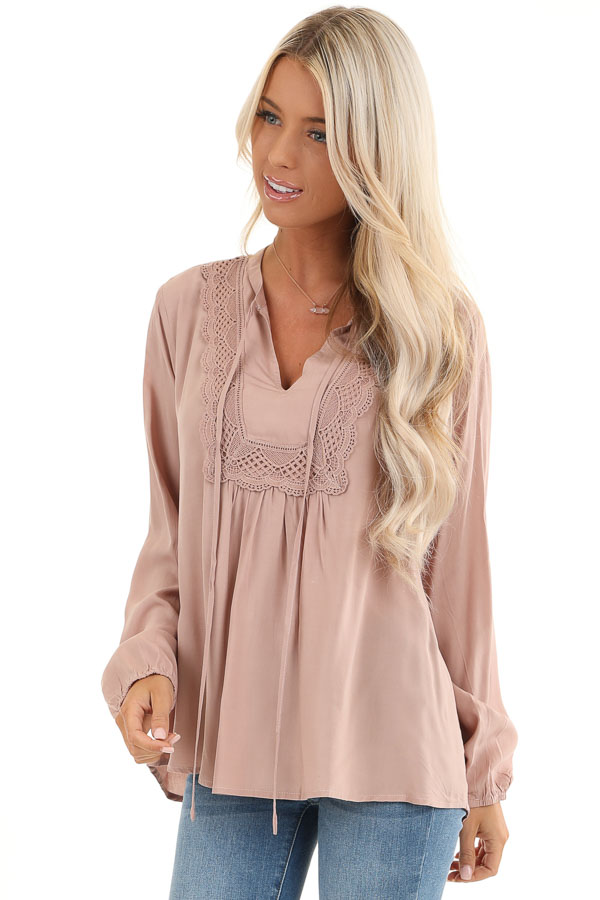 Blush Long Sleeve Top with Lace Neckline and Tie Detail front close up