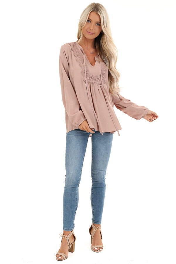 Blush Long Sleeve Top with Lace Neckline and Tie Detail front full body