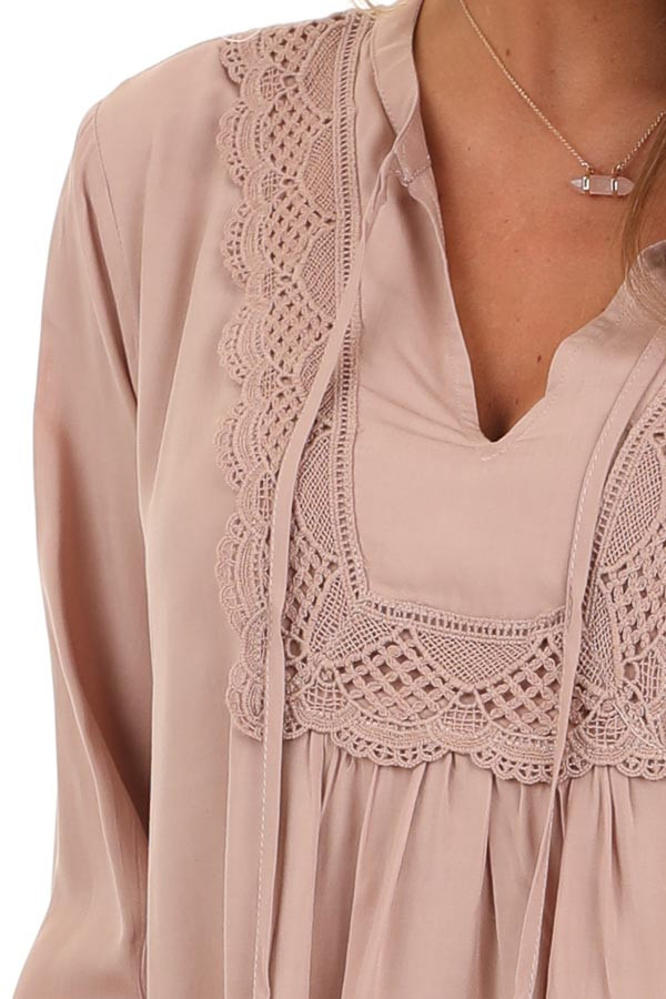 Blush Long Sleeve Top with Lace Neckline and Tie Detail detail