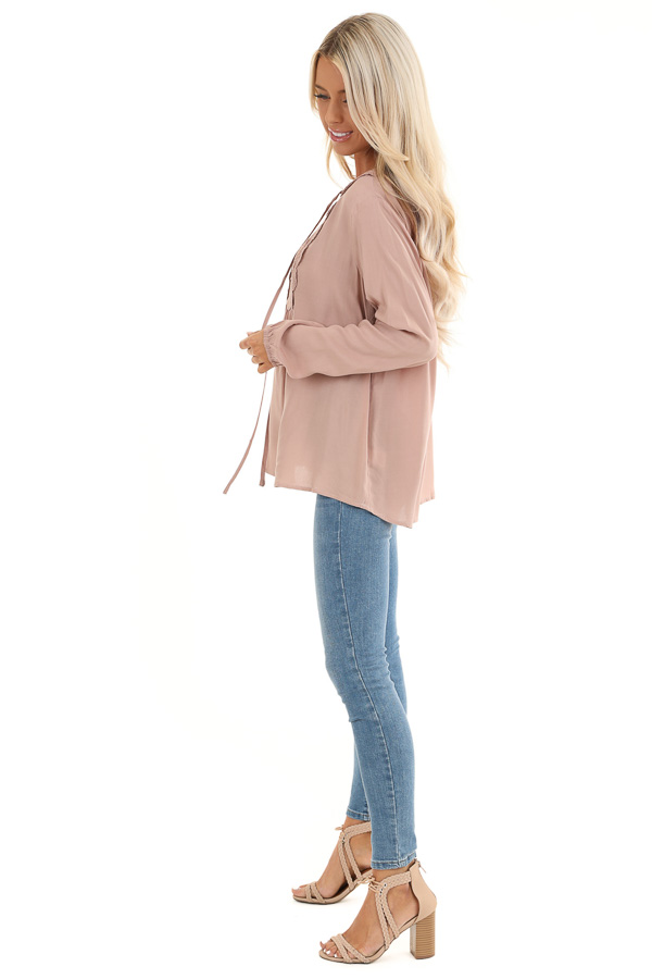 Blush Long Sleeve Top with Lace Neckline and Tie Detail side full body