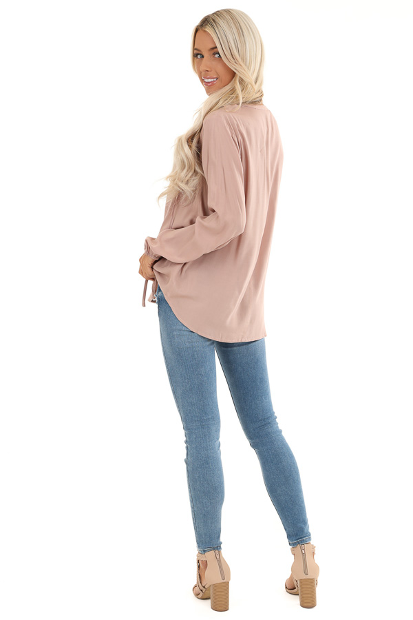 Blush Long Sleeve Top with Lace Neckline and Tie Detail back full body