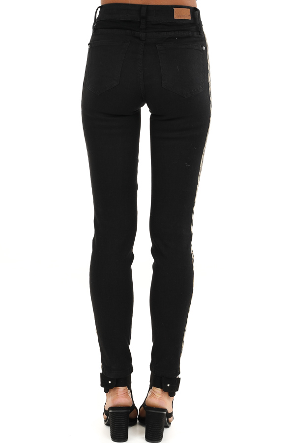 Black Skinny Leg Pants with Leopard Print Side Panels back view