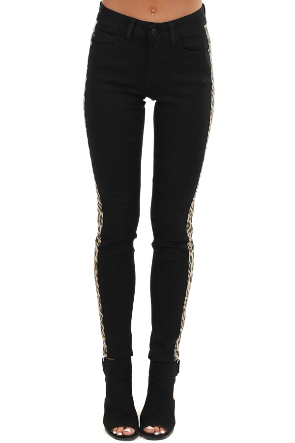 Black Skinny Leg Pants with Leopard Print Side Panels front view