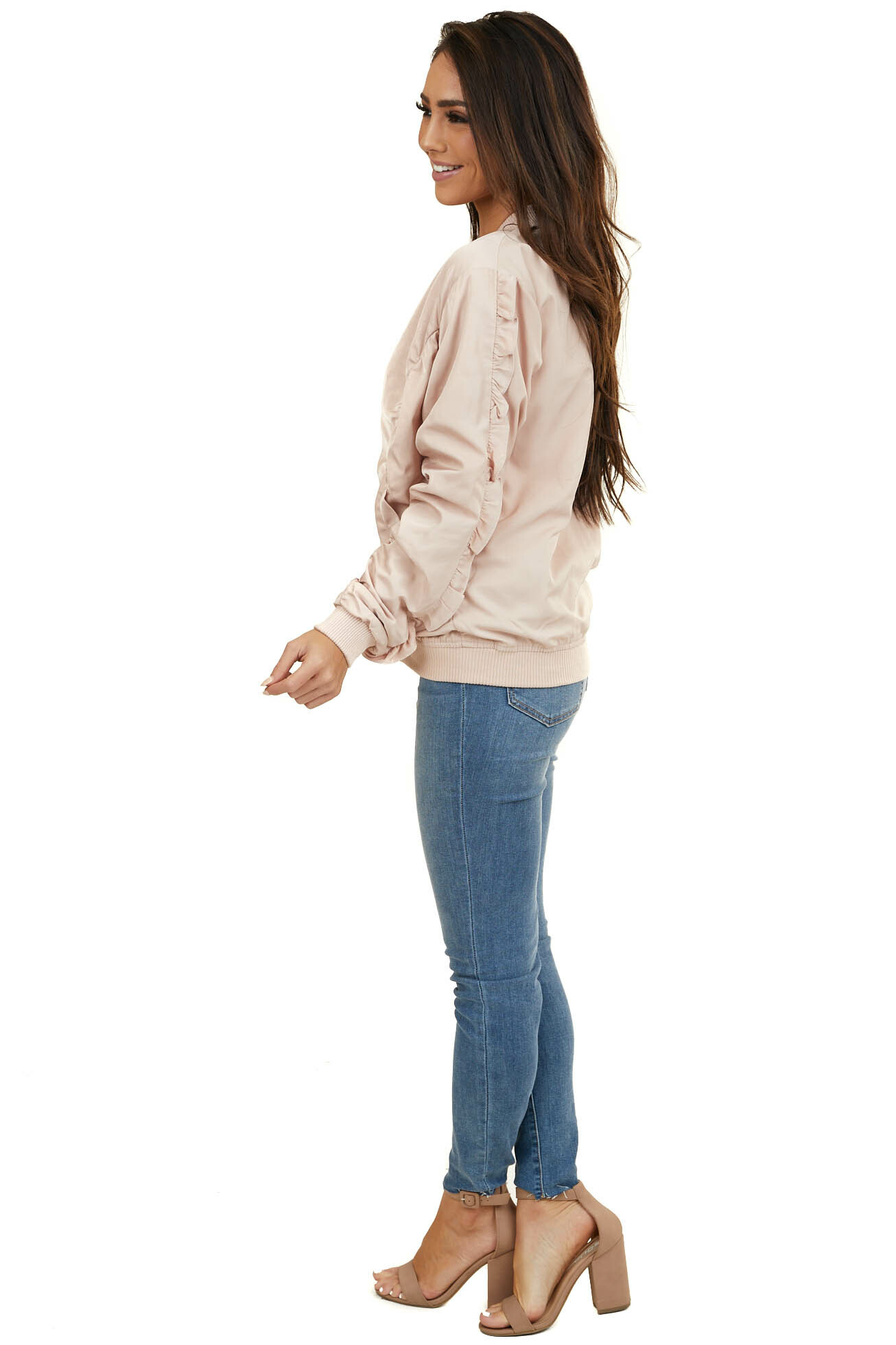 Light Blush Satin Jacket with Ruffle Details and Pockets