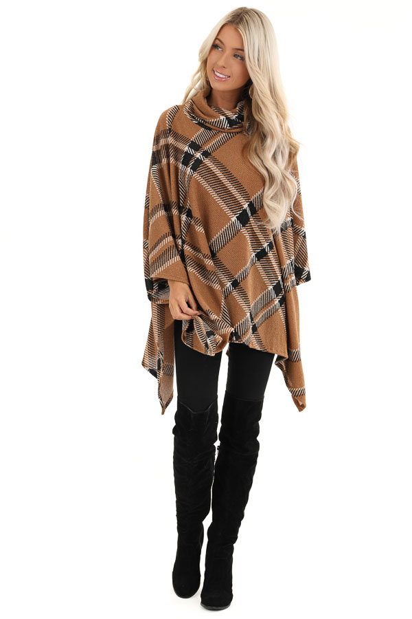 Brown and Black Plaid Poncho with Turtleneck front full body