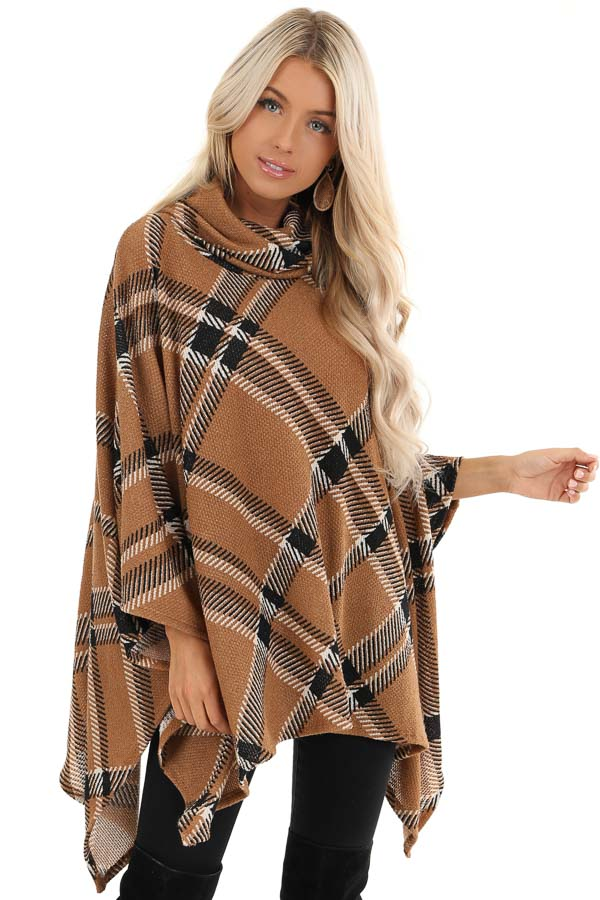 Brown and Black Plaid Poncho with Turtleneck front close up