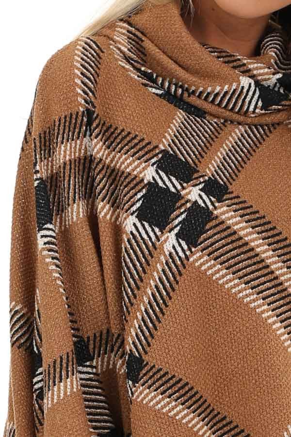 Brown and Black Plaid Poncho with Turtleneck detail