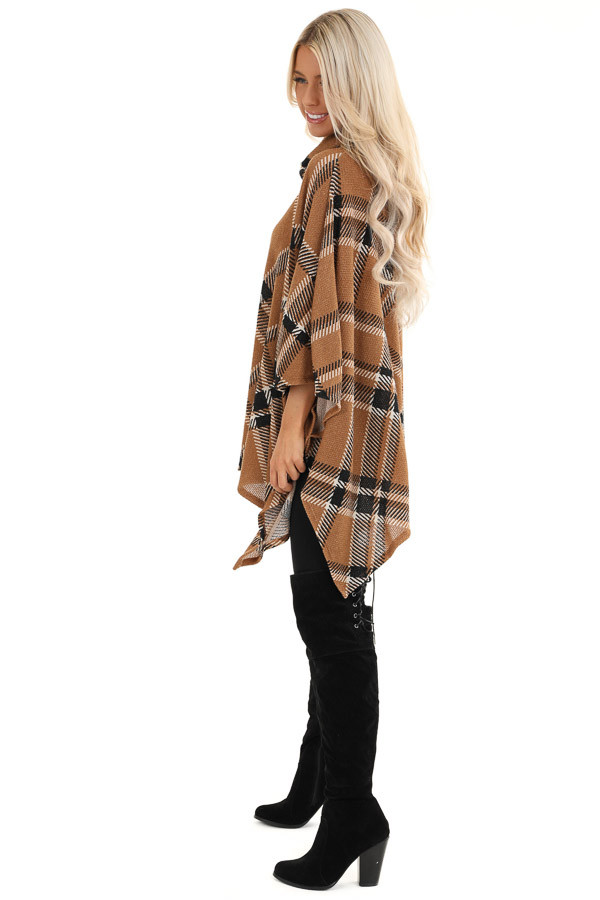Brown and Black Plaid Poncho with Turtleneck side full body