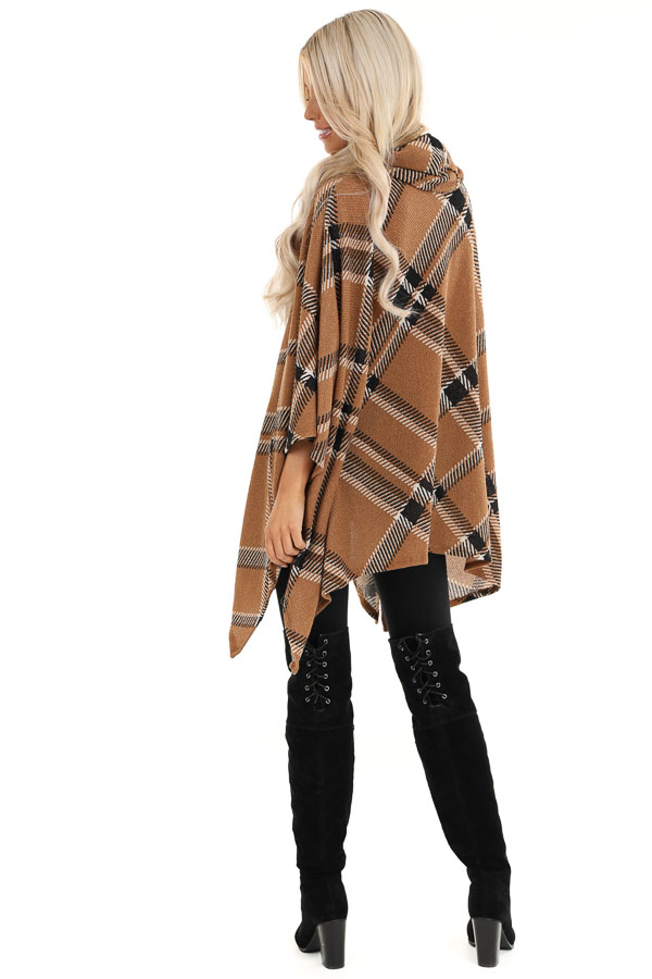 Brown and Black Plaid Poncho with Turtleneck back full body