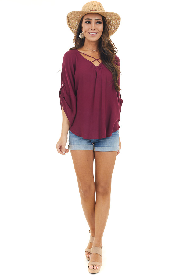 Maroon 3/4 Sleeve Top with Open Back and X Neckline