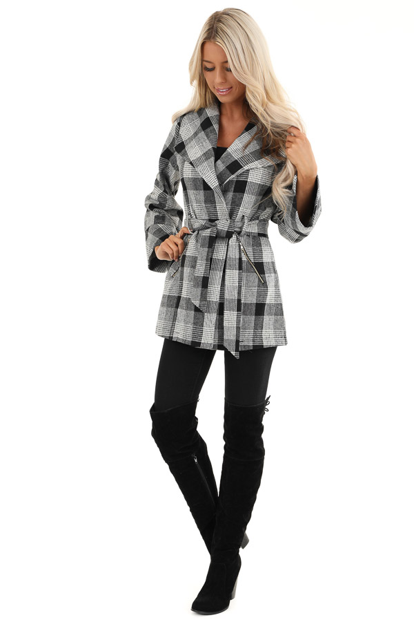 Black and White Plaid Coat with Self Tie Belt front full body