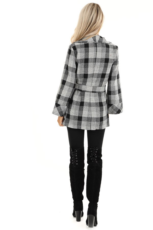 Black and White Plaid Coat with Self Tie Belt full body