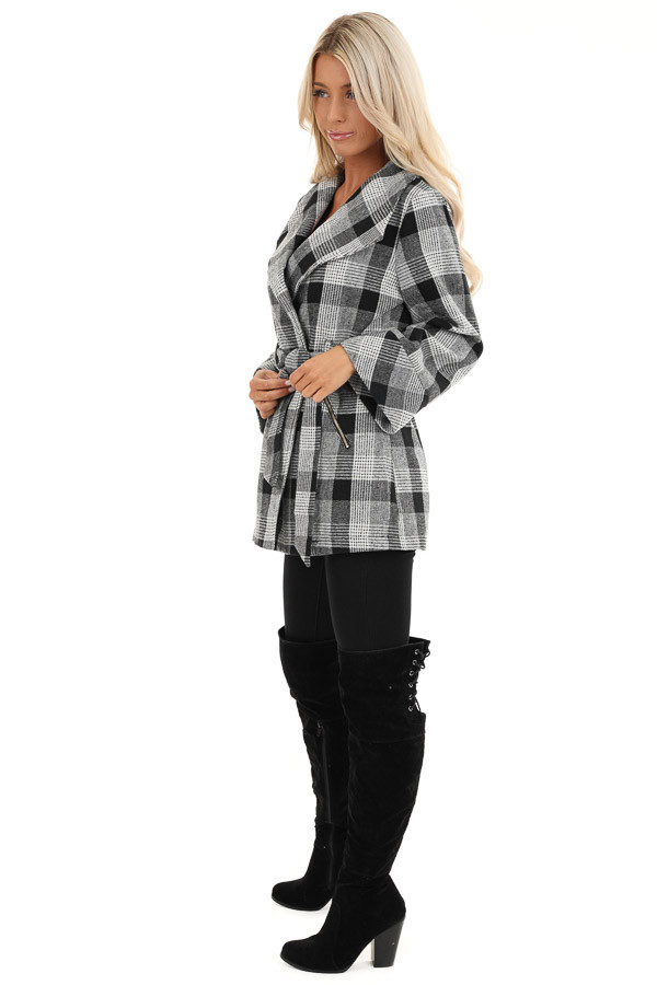 Black and White Plaid Coat with Self Tie Belt side full body