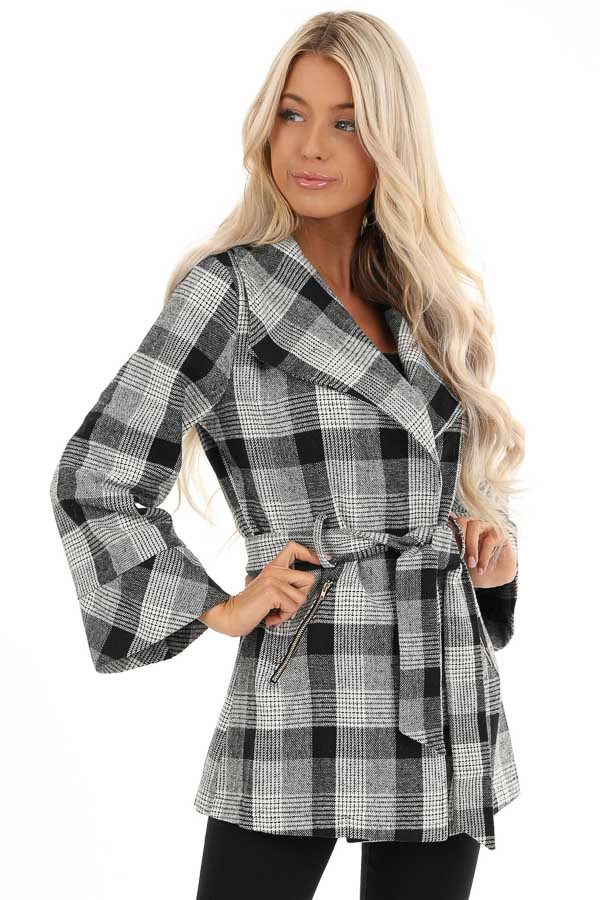 Black and White Plaid Coat with Self Tie Belt front close up